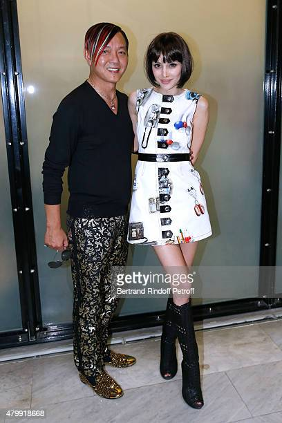 Stephen Hung and his wife Deborah attend the Jean Paul Gaultier show as part of Paris Fashion Week HauteCouture Fall/Winter 2015/2016 on July 8 2015...