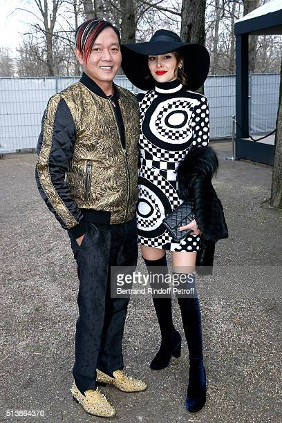 Stephen Hung and his wife Deborah in dress Emilio Pucci attend the Elie Saab show as part of the Paris Fashion Week Womenswear Fall/Winter 2016/2017...