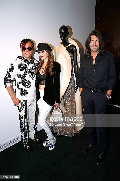 Stephen Hung his wife Deborah and Fashion designer Stephane Rolland attend the Stephane Rolland show as part of Paris Fashion Week Haute Couture...