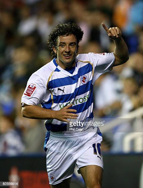 Stephen Hunt of Reading celebrates scoring during the second round match of the Carling Cup between Reading and Luton Town at the Madejski Stadium on...