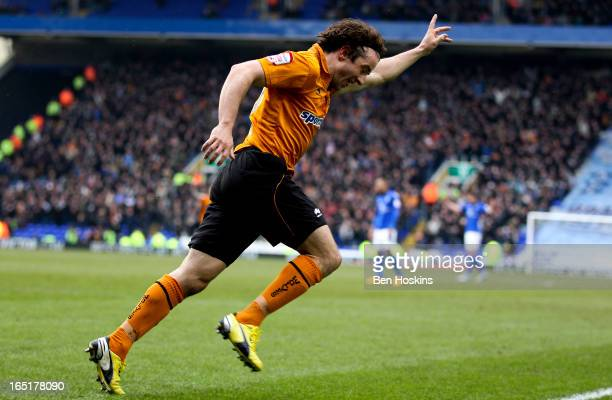 Stephen Hunt of Wolves celebrates after scoring the opening goal of the game during the npower Championship match between Birmingham City and...