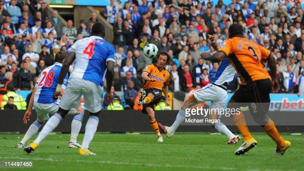 Stephen Hunt of Wolves scores to make it 32 during the Barclays Premier League match between Wolverhampton Wanderers and Blackburn Rovers at Molineux...