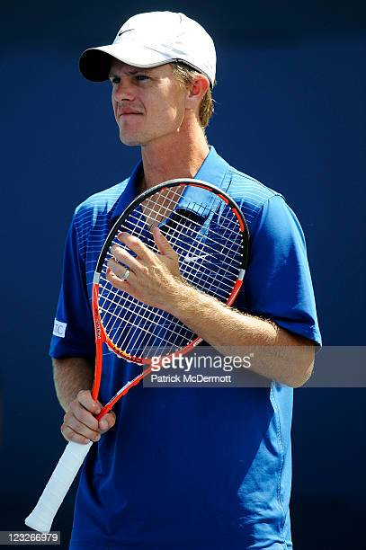 Stephen Huss of Australia looks on during a break in play during his doubles match with Ashley Fisher of Australia against Martin Emmrich of Germany...