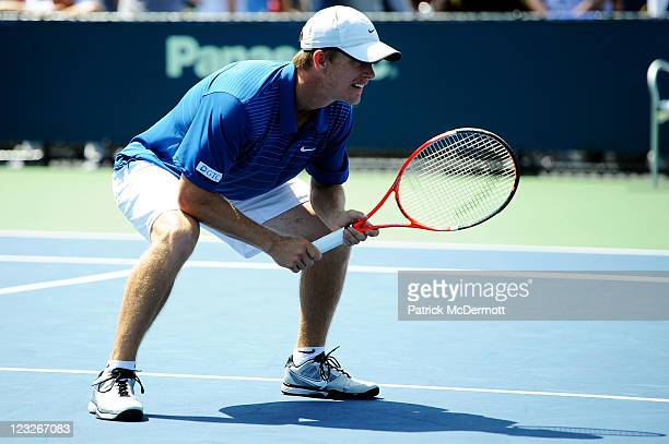 Stephen Huss of Australia looks on during his doubles match with Ashley Fisher of Australia against Martin Emmrich of Germany and Andreas Siljestrom...