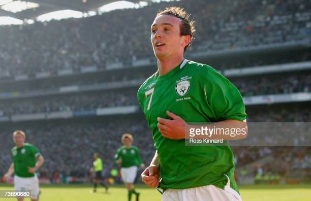 Stephen Ireland of Ireland celebrates after scoring the opening goal during the Euro2008 Group D Qualifier between the Republic of Ireland and Wales...