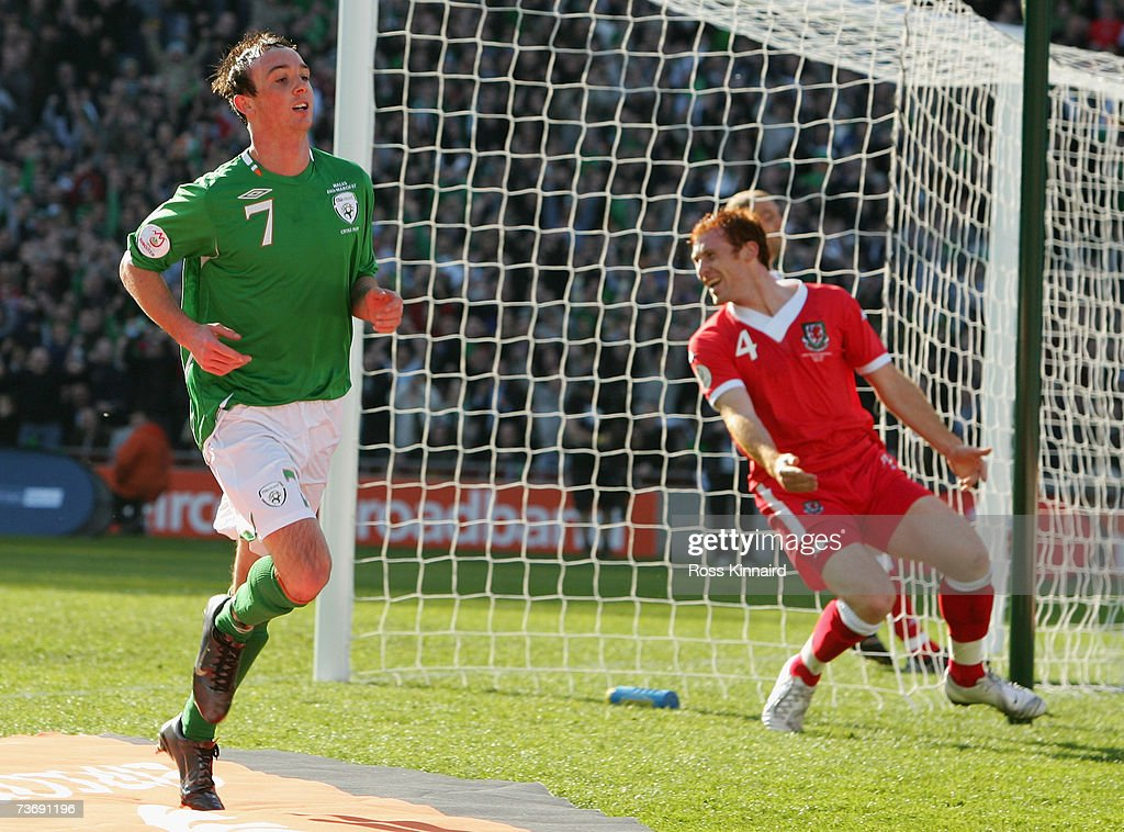 Stephen Ireland of Ireland celebrates after scoring the opening goal during the Euro2008 Group D Qualifier between the Republic of Ireland and Wales at the Croke Park Stadium on March 24, 2007 in Dublin, Ireland.