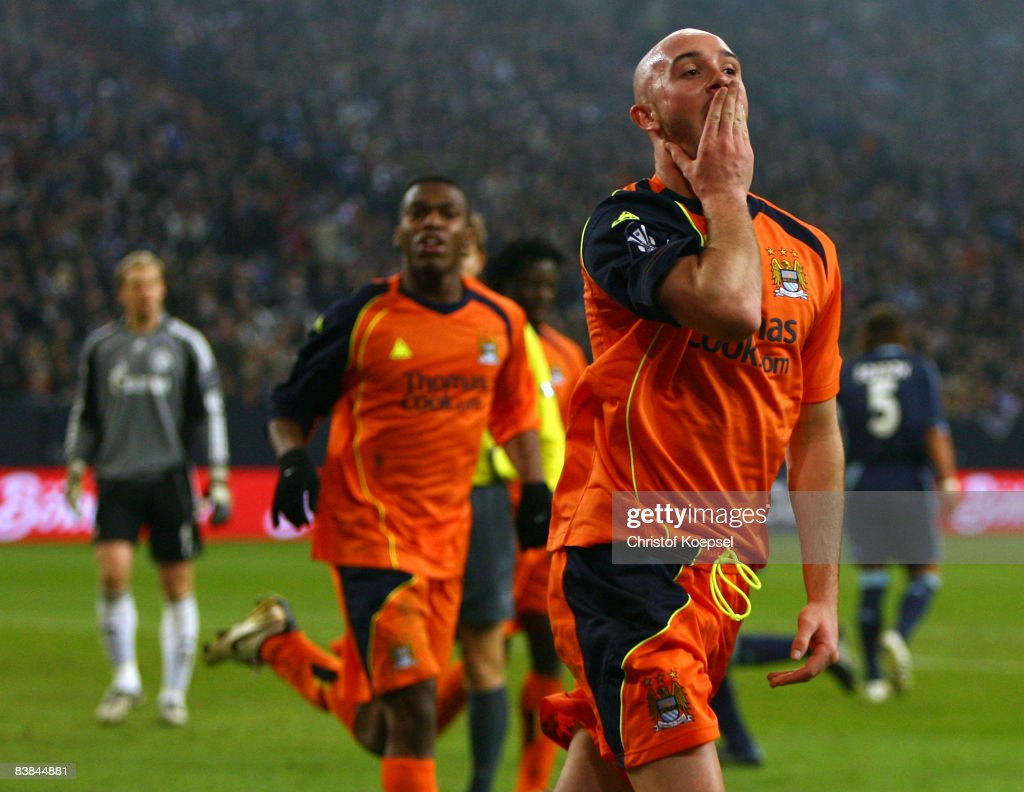 Stephen Ireland of Manchester City celebrates the second goal during the UEFA Cup Group A match between FC Schalke 04 and Manchester City at the Veltins Arena on November 27, 2008 in Gelsenkirchen, Germany.