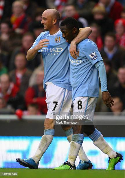 Stephen Ireland of Manchester City celebrates with Shaun WrightPhillips after he scored his team's second goal during the Barclays Premier League...