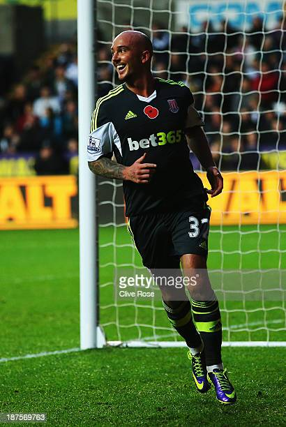 Stephen Ireland of Stoke City celebrates after scoring his sides second goal during the Barclays Premier League match between Swansea City and Stoke...