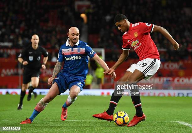 Stephen Ireland of Stoke City chases down Marcus Rashford of Manchester United during the Premier League match between Manchester United and Stoke...