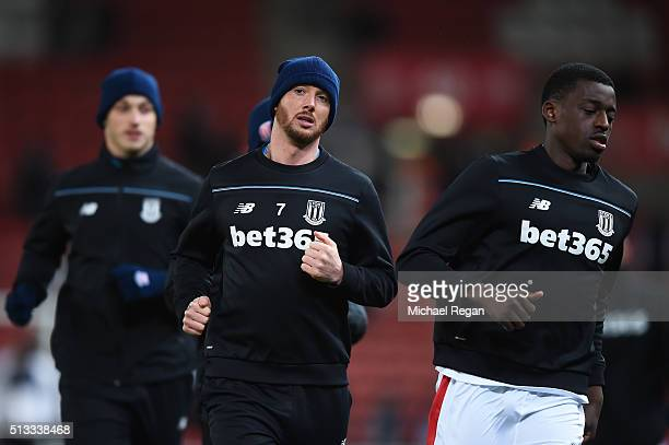 Stephen Ireland of Stoke City of Stoke City during the warm up prior to the Barclays Premier League match between Stoke City and Newcastle United at...
