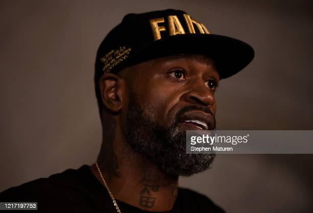 Stephen Jackson a friend of George Floyd speaks at a press conference on June 2 2020 in Minneapolis Minnesota The former NBA Player joined Roxie...