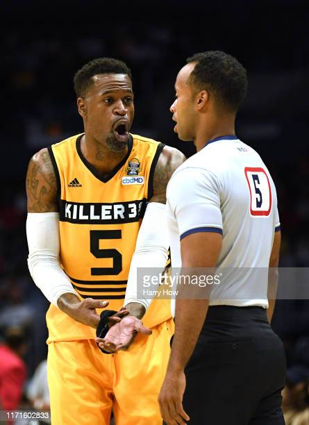 Stephen Jackson of Killer 3s argues with the referee while playing against the Triplets during the BIG3 Championship at Staples Center on September...