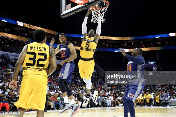 Stephen Jackson of Killer 3s dunks against 3's Company during week two of the BIG3 three on three basketball league at Spectrum Center on June 29,...