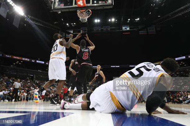 Stephen Jackson of Killer 3s falls to the court after a shot against Trilogy during week four of the BIG3 three-on-three basketball league at...