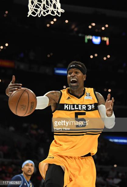 Stephen Jackson of Killer 3s plays against the Triplets during the BIG3 Championship at Staples Center on September 01, 2019 in Los Angeles,...