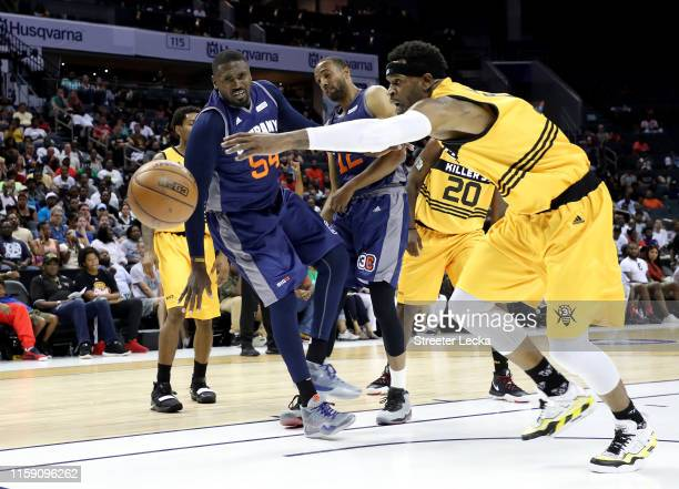 Stephen Jackson of Killer 3s reaches for the ball against 3's Company during week two of the BIG3 three on three basketball league at Spectrum Center...
