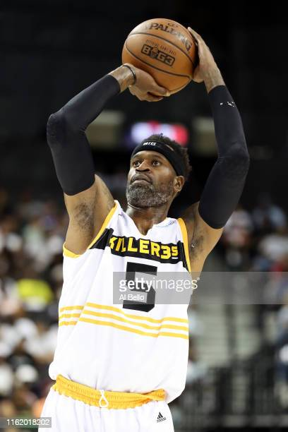 Stephen Jackson of Killer 3s shoots a free throw against Trilogy during week four of the BIG3 three-on-three basketball league at Barclays Center on...