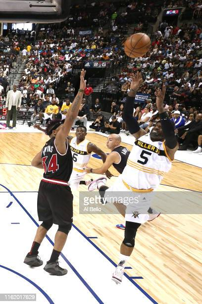 Stephen Jackson of Killer 3s shoots against David Hawkins of Trilogy during week four of the BIG3 three-on-three basketball league at Barclays Center...