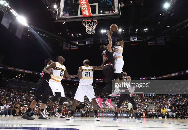 Stephen Jackson of Killer 3s shoots against James White of Trilogy during week four of the BIG3 three-on-three basketball league at Barclays Center...