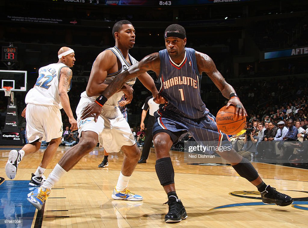 Stephen Jackson #1 of the Charlotte Bobcats backs down against Nick Young #1 of the Washington Wizards at the Verizon Center on March 23, 2010 in Washington, DC.