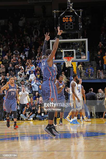 Stephen Jackson of the Charlotte Bobcats celebrates after hitting the buzzer beater to send the game into overtime against the Golden State Warriors...