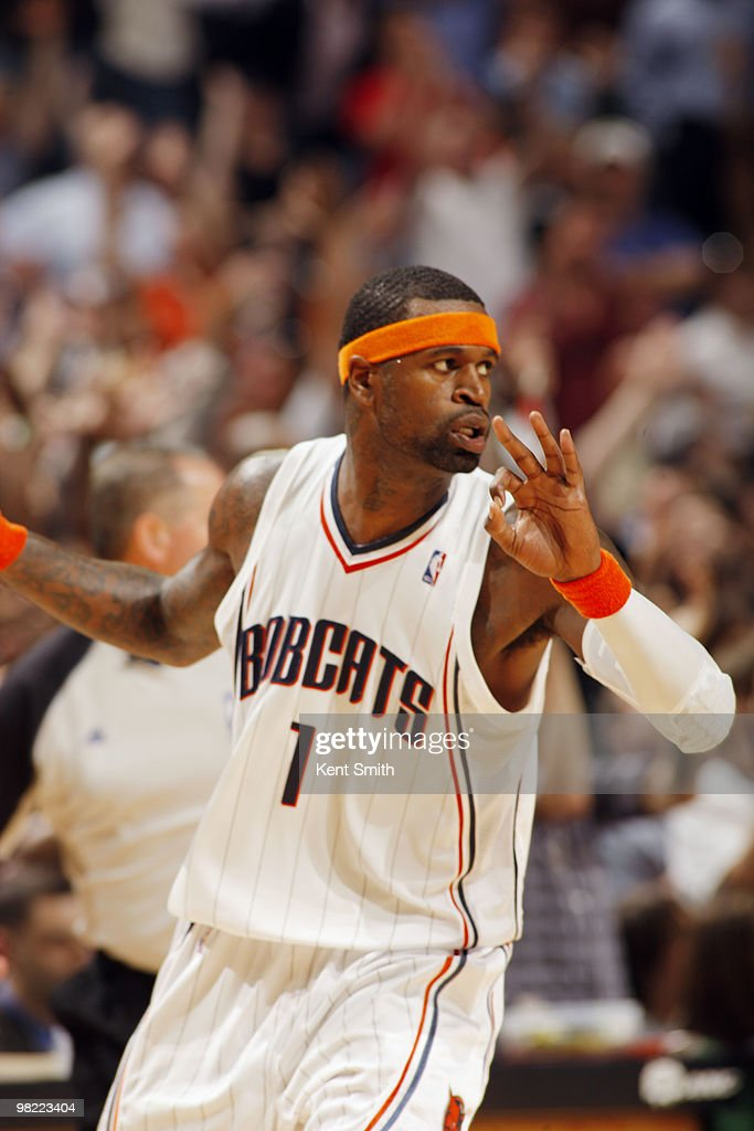 Stephen Jackson #1 of the Charlotte Bobcats celebrates his three-pointer against the Milwaukee Bucks on April 2, 2010 at the Time Warner Cable Arena in Charlotte, North Carolina.