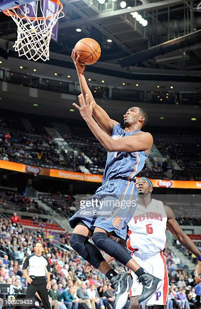 Stephen Jackson of the Charlotte Bobcats drives to the basket during a game against the Detroit Pistons on November 5 2010 at The Palace of Auburn...