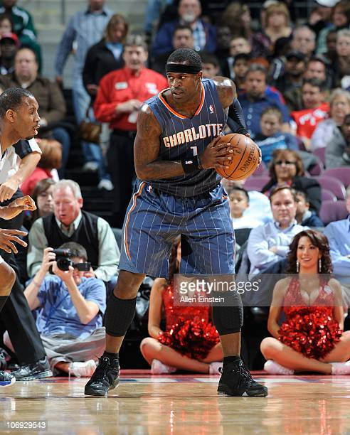 Stephen Jackson of the Charlotte Bobcats handles the ball during a game against the Detroit Pistons on November 5 2010 at The Palace of Auburn Hills...