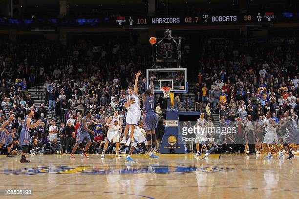 Stephen Jackson of the Charlotte Bobcats hits the buzzer beater to send the game into overtime against the Golden State Warriors on January 28 2011...