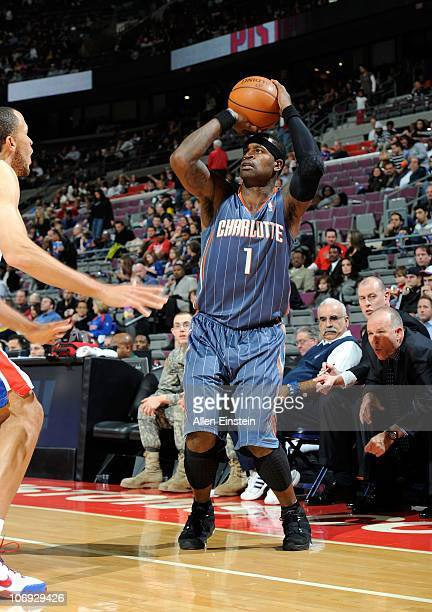 Stephen Jackson of the Charlotte Bobcats shoots the ball during a game against the Detroit Pistons on November 5 2010 at The Palace of Auburn Hills...