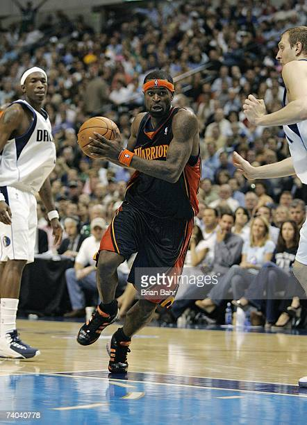 Stephen Jackson of the Golden State Warriors drives down the lane against the Dallas Mavericks in Game Two of the Western Conference Quarterfinals...