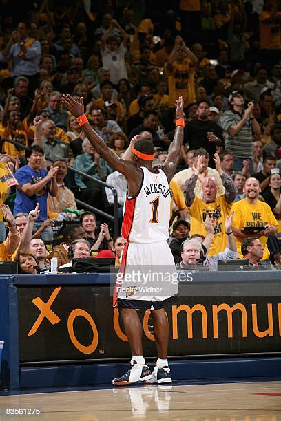 Stephen Jackson of the Golden State Warriors fires up the crowd during the game against the New Orleans Hornets on October 29 2008 at Oracle Arena in...