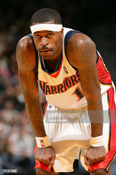 Stephen Jackson of the Golden State Warriors rests during the game against the Cleveland Cavaliers on January 20 2007 at Oracle Arena in Oakland...