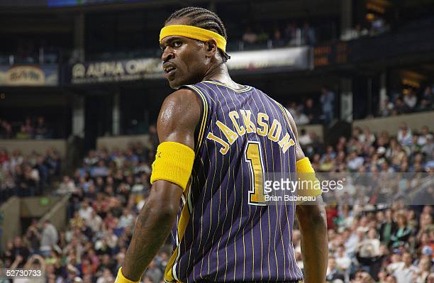 Stephen Jackson of the Indiana Pacers looks on against the Boston Celtics in Game one of the Eastern Conference Quarterfinals during the 2005 NBA...