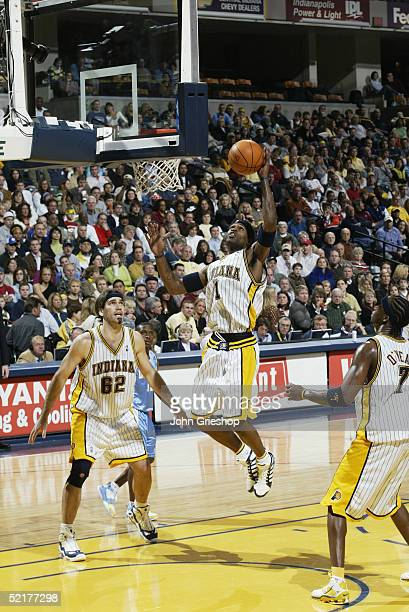 Stephen Jackson of the Indiana Pacers shoots the ball during the game with the Denver Nuggets at Conseco Fieldhouse on January 29 2005 in...