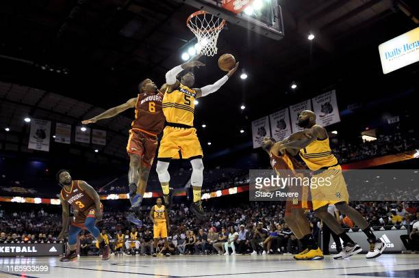 Stephen Jackson of the Killer 3's attempts a shot while being guarded by Josh Smith of the Bivouac in the second half during week seven of the BIG3...