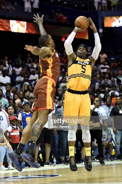 Stephen Jackson of the Killer 3's attempts a shot while being guarded by Josh Smith of the Bivouac in the first half during week seven of the BIG3...