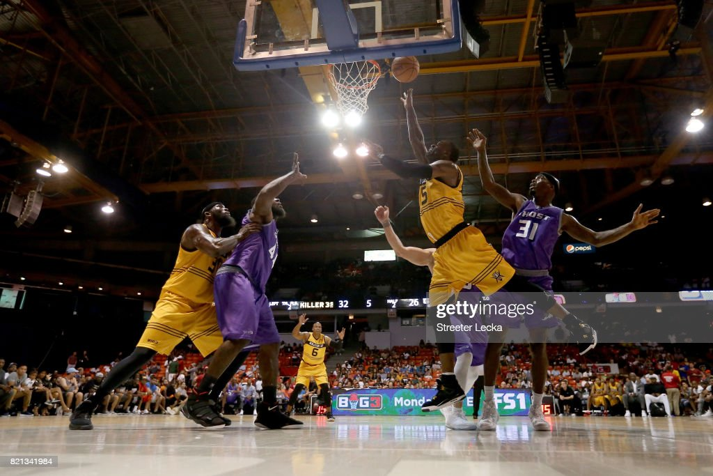 Stephen Jackson #5 of the Killer 3s attempts a shot while being guarded by Ricky Davis #31 of the Ghost Ballers during week five of the BIG3 three on three basketball league at UIC Pavilion on July 23, 2017 in Chicago, Illinois.