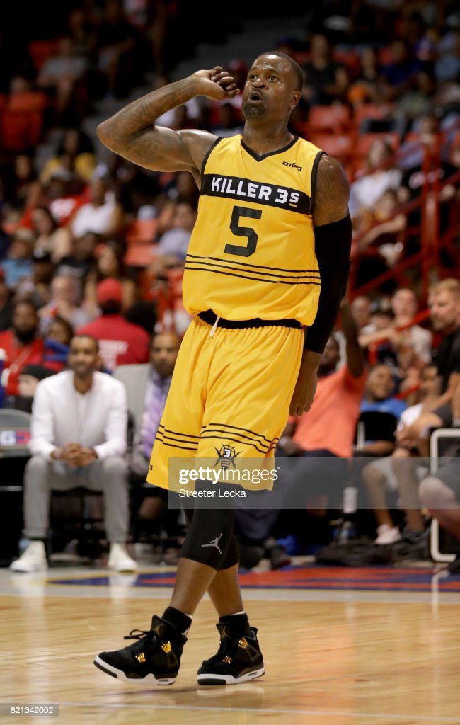 Stephen Jackson #5 of the Killer 3s reacts during the game against the Ghost Ballers during week five of the BIG3 three on three basketball league at UIC Pavilion on July 23, 2017 in Chicago, Illinois.