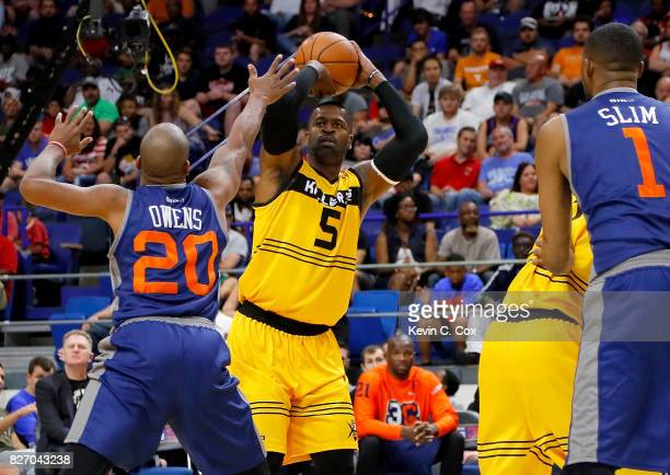 Stephen Jackson of the Killer 3s shoots the ball during the game agains 3's Company during week seven of the BIG3 three on three basketball league at...