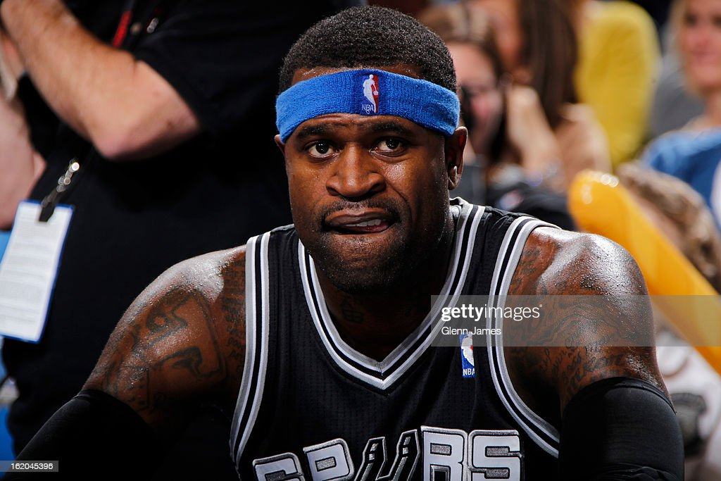 Stephen Jackson #3 of the San Antonio Spurs sits on the bench during the game against the Dallas Mavericks on January 25, 2013 at the American Airlines Center in Dallas, Texas.