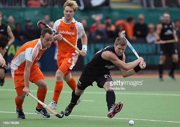 Stephen Jenness of New Zealand makes an attempt at goal during the match between New Zealand and Netherlands on day six of the 2011 Men's Champions...