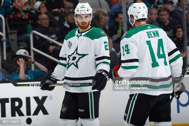 Stephen Johns and Jamie Benn of the Dallas Stars talk during the game against the San Jose Sharks at SAP Center on February 18 2018 in San Jose...