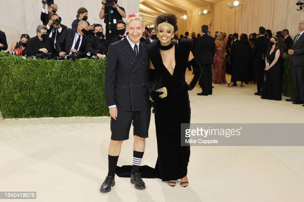 Stephen Jones and Fariyal Abdul attend The 2021 Met Gala Celebrating In America: A Lexicon Of Fashion at Metropolitan Museum of Art on September 13,...