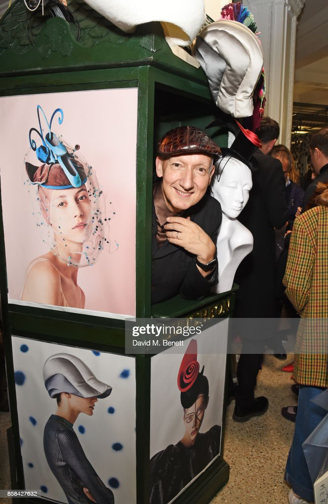 Stephen Jones attends the Dover Street Market open house on October 6, 2017 in London, England.
