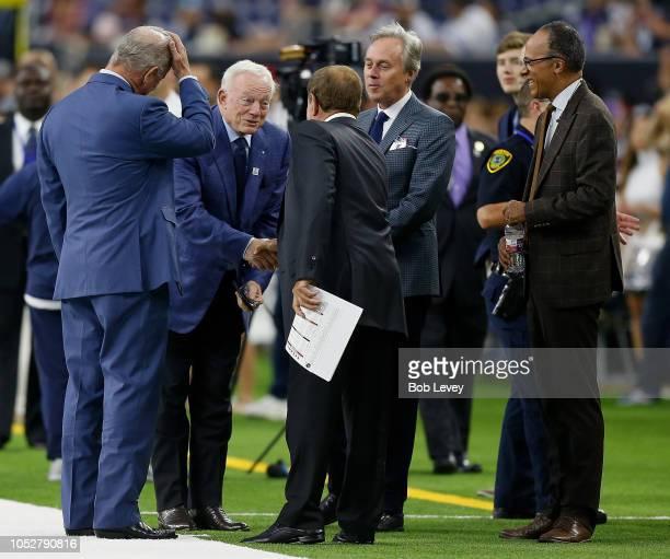 Stephen Jones Jerry Jones Al Michaels and Lester Holt on the field at NRG Stadium on October 7 2018 in Houston Texas Houston won 1916 in overtime