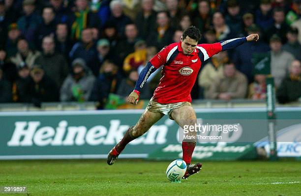 Stephen Jones kicks for goal during the Heineken European Cup Pool Four match between Northampton Saints and Llanelli at Franklin's Gardens on...