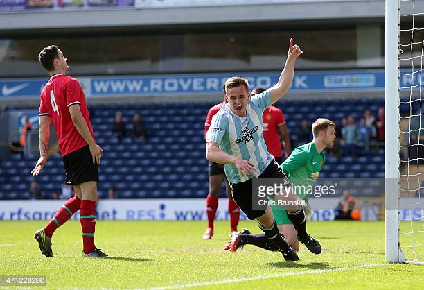 Stephen Jones of Campfield celebrates scoring the opening goal during the The FA Sunday Cup Final between Campfield and OJM at Ewood Park on April 26...