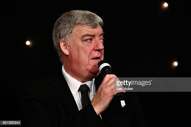 Stephen Jones of the Times speaks during the Rugby Union Writers' Club Annual Dinner Awards at the London Marriott Hotel Grosvenor Square on January...